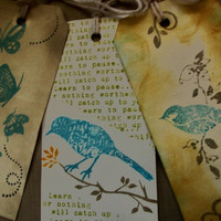 Bird & Butterfly Set of 3 Large Handstamped by PaperPastiche