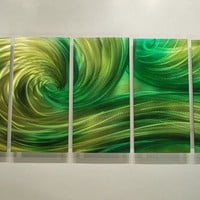 64 green OCEAN DANCE Metal Modern Abstract Wall Art by luboart