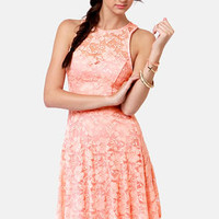 Forever a Flirt Peach Lace Dress