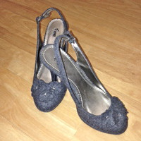 Fioni Light Grey Flower Detail Sling Back Heels SZ: 7