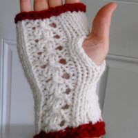 Fingerless Gloves, Wristwarmers Knitted Snow White and Blood Red