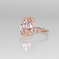 13ct Cushion peach champagne sapphire in 14k rose by EidelPrecious