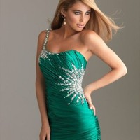 2012 Style Trumpet / Mermaid One Shoulder Beading  Sleeveless Floor-length Elastic Woven Satin Dark Green Prom Dress / Evening D