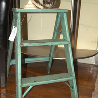 Vintage Step Ladder / Wooden ladder / Home Decor / Shabby Chic / Vintage / Cottage Chic / Step Stool / Turquoise / Ladder