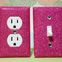 SET Of Raspberry PINK Glitter Swichplate Outlet by GlitterItMine