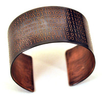 Binary Code Cuff Bracelet in Copper by KarlaWheelerDesign on Etsy