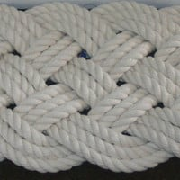 "Cotton Soft Rope Rug 27"" x 12"" Off-White Great Bath Mat Nautical Beach Decor"