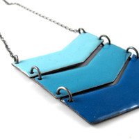 Triple Chevron Necklace in Blue Enameled Copper and by rubygirl