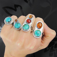 turquoise carnelian amber ring sterling by NRjewellerydesign
