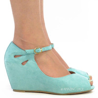 Country Flower Mint Platform Short Wedge Sandal