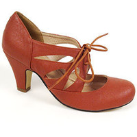 1940's Tan Tie-Up Maryjane Pumps
