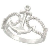 Sterling Silver Anchor Ring 9/16 inch (14 mm) long, sizes 4.5 - 10.5: Jewelry