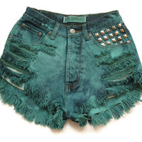 High waisted green shorts XXS by deathdiscolovesyou on Etsy