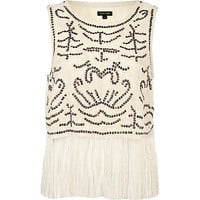 Cream sequin embellished fringed tank top