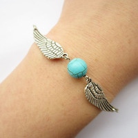 Bracelet---antique silver wings and blue Turquoise&alloy chain