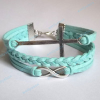 infinity bracelet, cross bracelet, mint bracelets infinity charm and cross charm, men's women's leather bracelets, braided bracelets