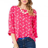 Sparrow Blouse in Magenta - ShopSosie.com