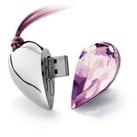 8GB Shiny Crystal Heart Shape USB Flash Drive with Necklace,light pink: Computers & Accessories