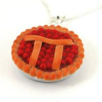 Pi pie necklace cherry by inediblejewelry on Etsy