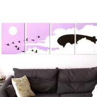 Bird Paintings in Purple, White, & Black 18 x 24 (Set of 4)