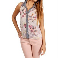 Gray Floral Sleeveless With A Denim Trim