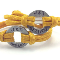 Personalized His Hers Stamped Paracord Bracelet in Goldenrod Yellow