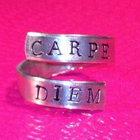 CARPE DIEM - Adjustable Twist Aluminum Ring - handed stamped