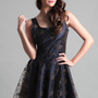 Blue Mini Dress - Mischka Lace Overlay Dress | UsTrendy