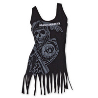 -Sons of Anarchy Faded Logo Reaper Tassels Womens' Tank Top - Black-Clothing-Juniors-Graphic Tees