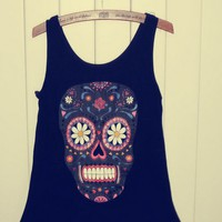 Black Color Vest with Skull and Floral Pattern [628]