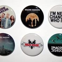 "Imagine Dragons 1-1/4"" Pinback Button Shirt Pin Badge 6X NEW Night Visions Tour"
