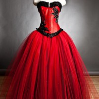 Private listing for Selina Custom Size red and black burlesque corset Ball gown RUSH ORDER