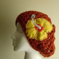 The Billie Holiday Slouchy Hat with Hibiscus Flower Applique