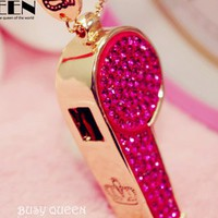 Shinning Pink Whistle Pattern Necklace [639]