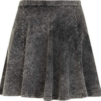 Grey acid wash skater skirt