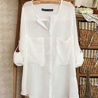 White Simple Wild Spinning Long Sleeve V-neck Chiffon Shirt