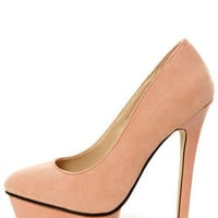Chloe 01 Blush Pink Suede and Patent Platform Pumps