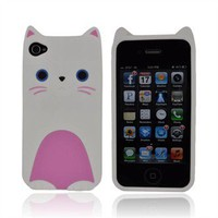 Buy AT&T/ Verizon Apple iPhone 4, iPhone 4S Silicone Case Blue/ White Cute Cat w/ Bow Tie Free Shipping AccessoryGeeks