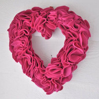 Valentine Heart Wreath Ruffled Felt  Fuschia by AprilGetsCrafty