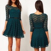 Atrovirens Lace Bodycon Dress Size M Army Green 312