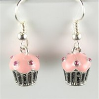 Silver and pink rhinestone cupcake earrings