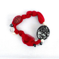 FOR HER Fabric red bracelet Beaded bangle with recycled shells - one of a kind - OOAK