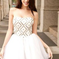 """Center of Attention"" princess style all white formal dress"