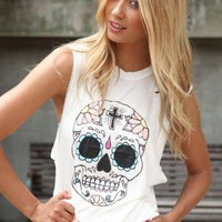 White Sleeveless Crop Top with Pastel Skull Print Front