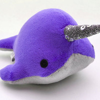 Narwhal Plush  w/ Sparkle Tooth  Small  MADETOORDER by OstrichFarm