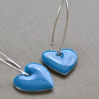 Azure Blue Enamel Heart Earrings, Sterling Silver Heart, Retro Hipster Earrings