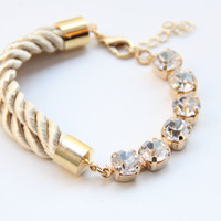 Half and Love: Gold Clear rhinestone chain and Beige silk Bracelet