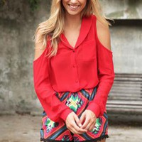Red Button Up Long Sleeve Blouse with V-Neck&Cutout Detail