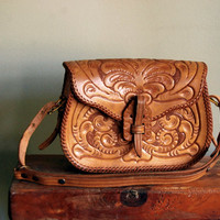 Vintage Tooled Leather Purse 1950s Handbag Western Accessories