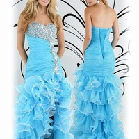 HOT Blues Organza Shiny Mermaid Long Wedding Gowns Formal Prom Pageant Dresses